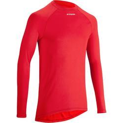 Fietsondershirt 100 met lange mouwen rood - Warm