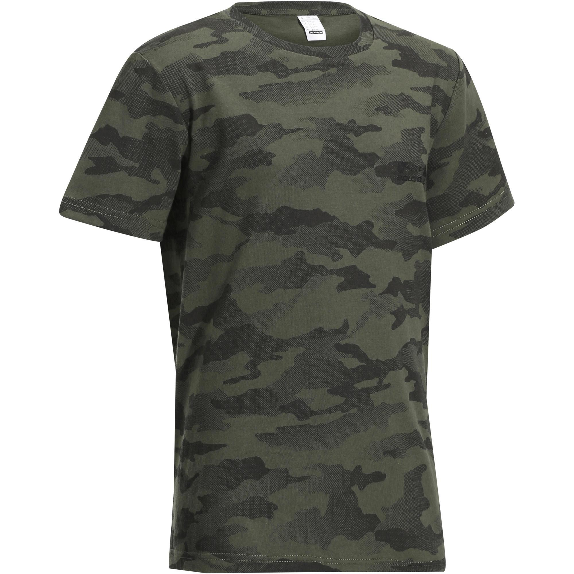 T shirt chasse manches courtes 100 junior camouflage halftone vert solognac