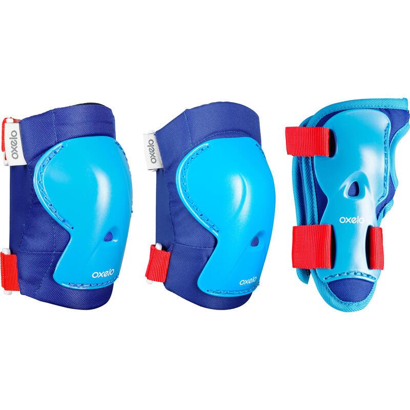 Set 3 protecciones patines skateboard scooter niños PLAY azul rojo