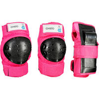 Set 3 Protecciones Roller Skateboard Patinete Basic Niños Rosa