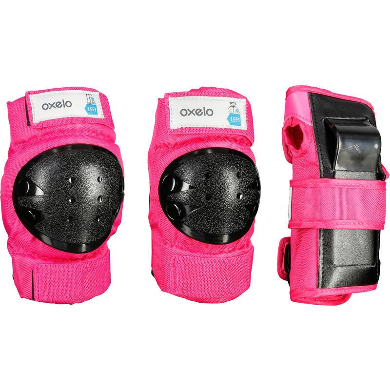Set 3 protecciones patines, skateboard y skate niños BASIC rosado