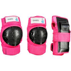 Set 3 protecciones roller skateboard patinete niños BASIC rosa