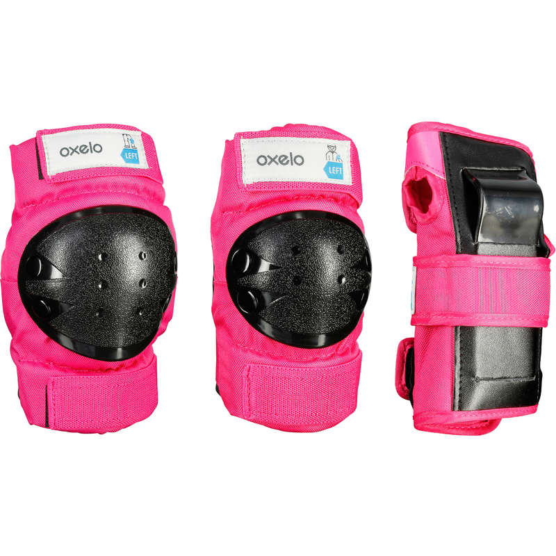 CHILD AND ADULT PADS Skateboarding and Longboarding - Basic 3-Piece Protectors Pink OXELO - Skateboarding and Longboarding