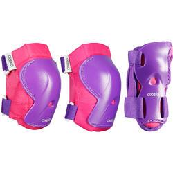 直排輪、滑板、滑板車護具3件組Play - 粉紅/紫色
