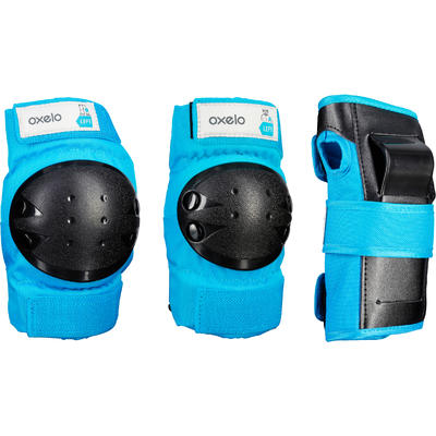 Kit 3 protecciones roller skateboard monopatín niños BASIC azul