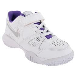 Tennisschoenen kinderen City Court 7 allcourt klittenband wit/paars