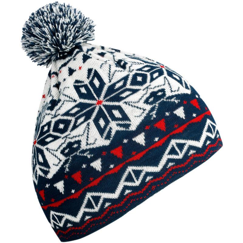 หมวกสกีผ้าแจ็คการ์ดสำหรับผู้ใหญ่ (สีขาว/กรมท่า)