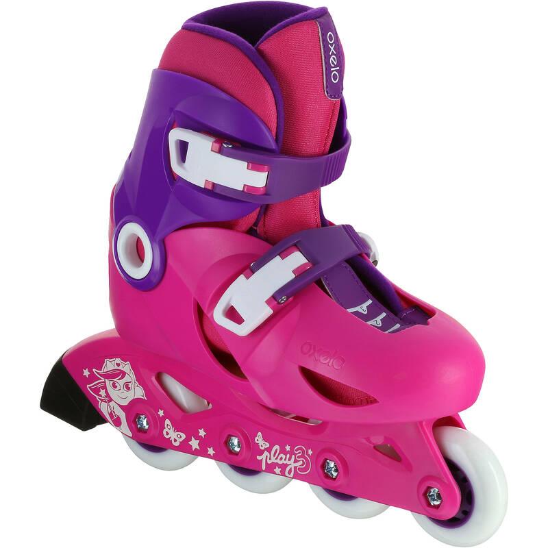 Detské kolieskové korčule Play3 ružovo-fialové OXELO