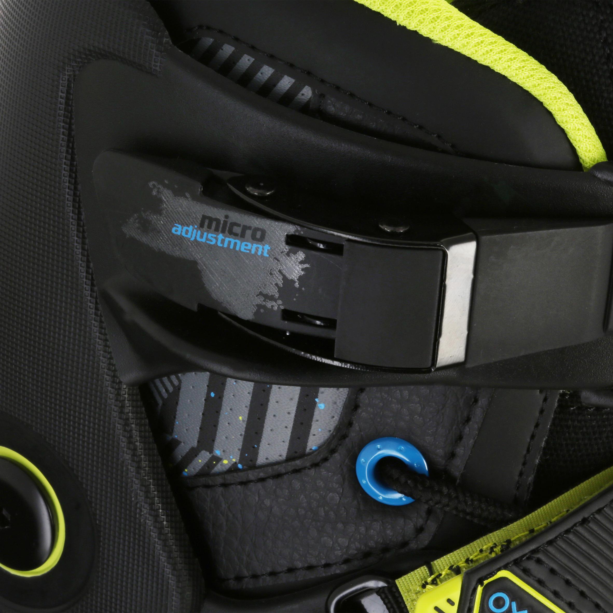 ADULT ROLLER INLINE SKATE FREERIDE 5 SOFTBOOT ACID BLACK