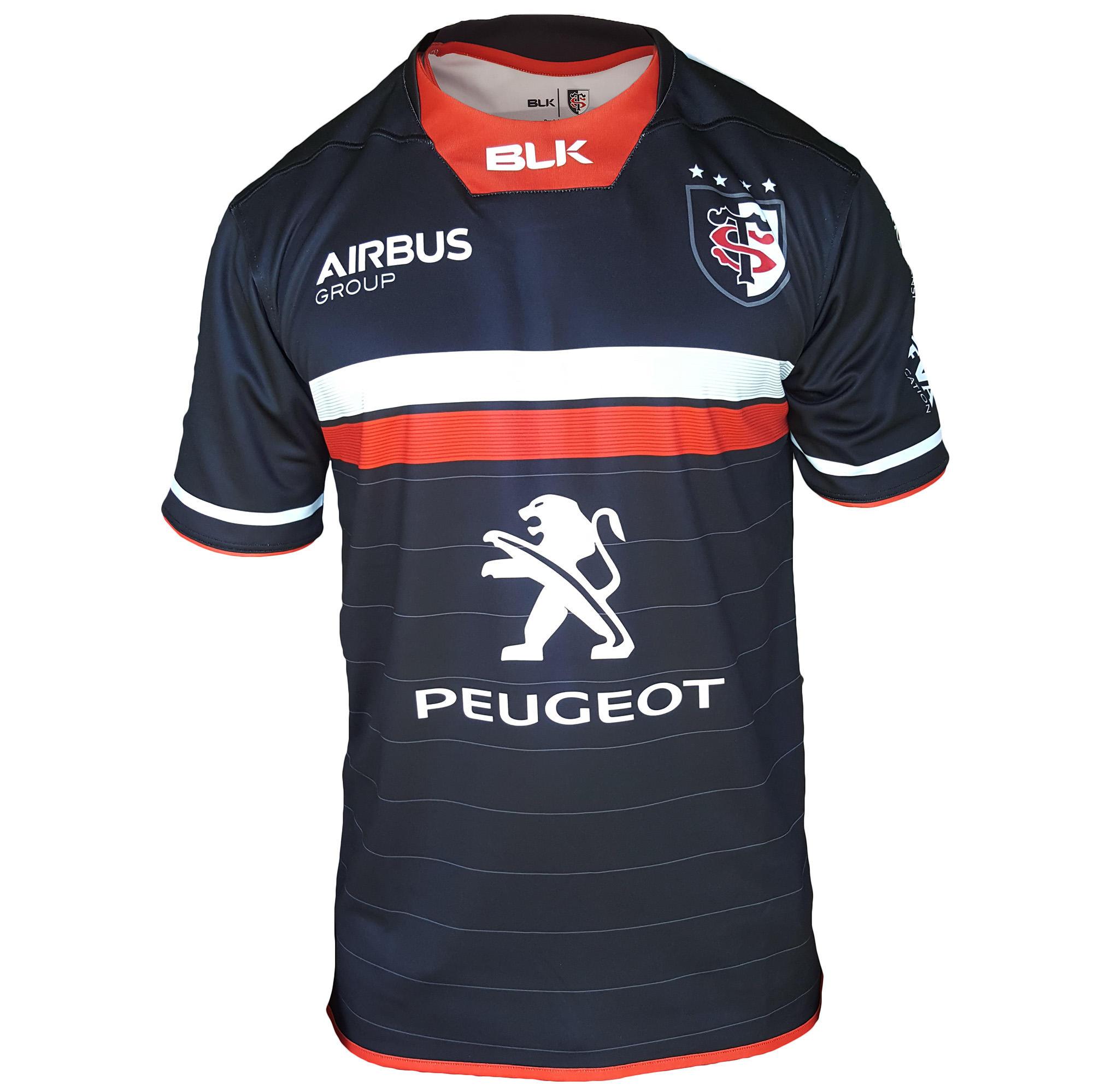 Blk Rugbyshirt volwassenen thuisshirt Stade Toulousain blauw/rood