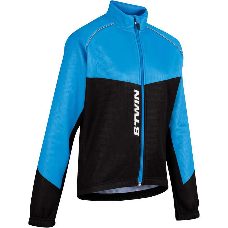JR COLD WEATHER CYCLING APPAREL ACC Cycling - 500 Junior Warm Cycling Jacket - Black/Blue B'TWIN - Cycling
