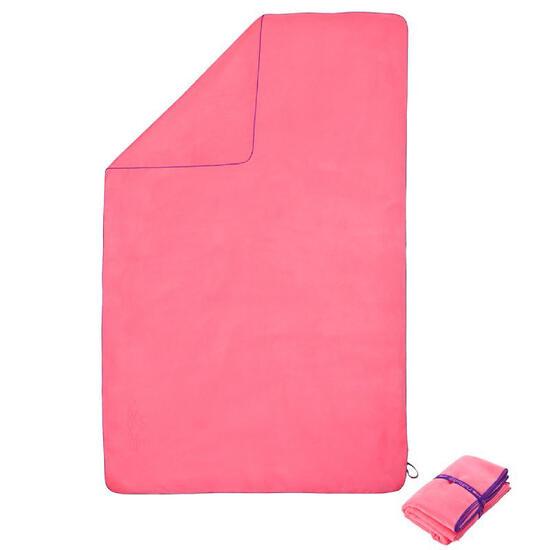 Zeer compacte microvezel handdoek cinablauw maat L 80 x 130 cm - 1030802