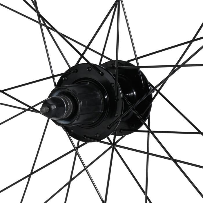 "Achterwiel MTB 27.5""x23c dubbelwandig schijfrem en cassette zwart tubeless"