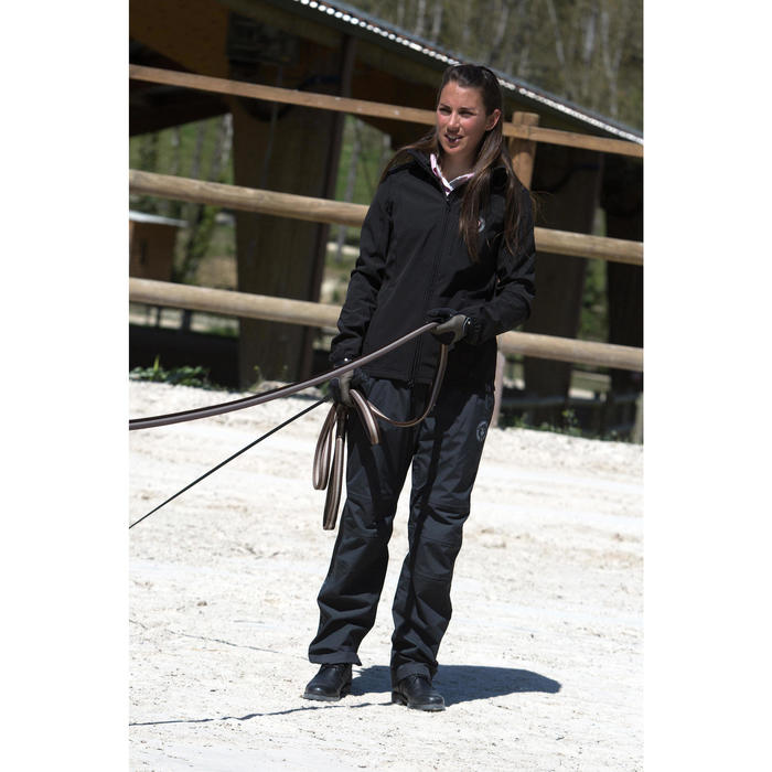 Sobrepantalón Equitación Fouganza 500 Adulto Negro Impermeable 2 En 1