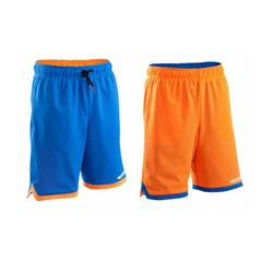 Reversible Kids' Intermediate Basketball Shorts - Blue/Orange