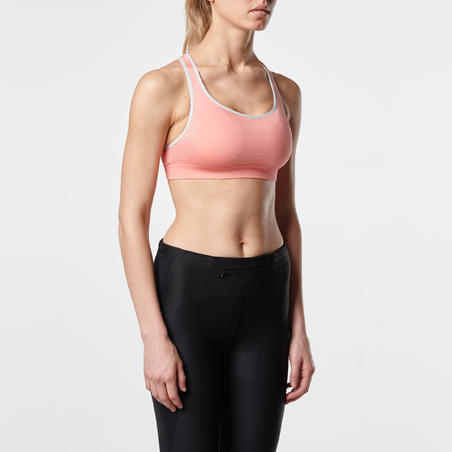 FIRST WOMEN'S RUNNING CROP TOP - CORAL