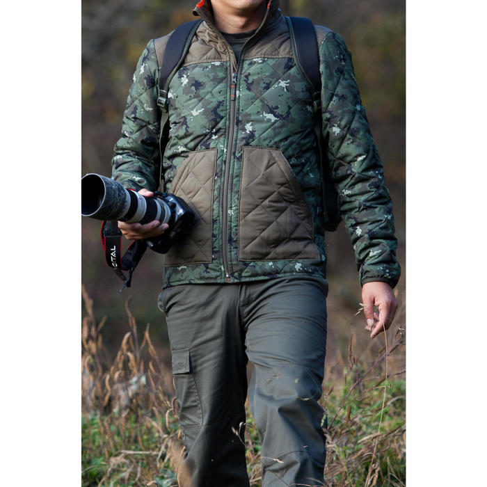 Quilted hunting jacket 100 - camouflage green - 1032135