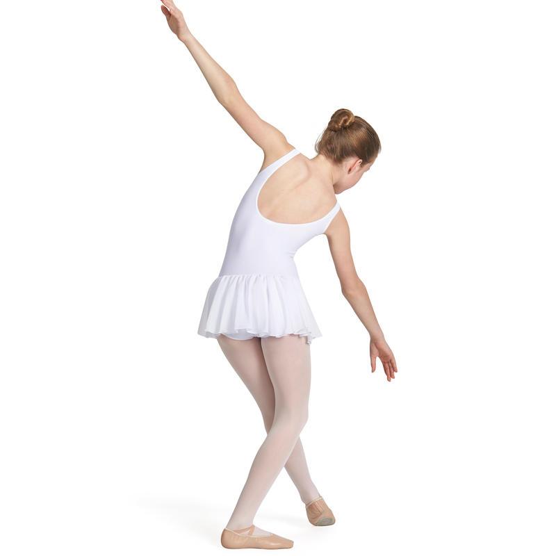 Girls' Ballet Leotard with Attached Skirt - White