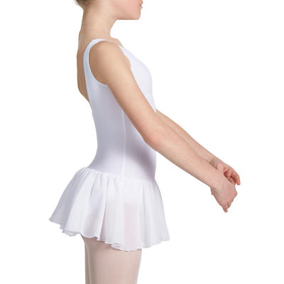Delia Girls' Ballet Leotard with Integrated Skirt - White