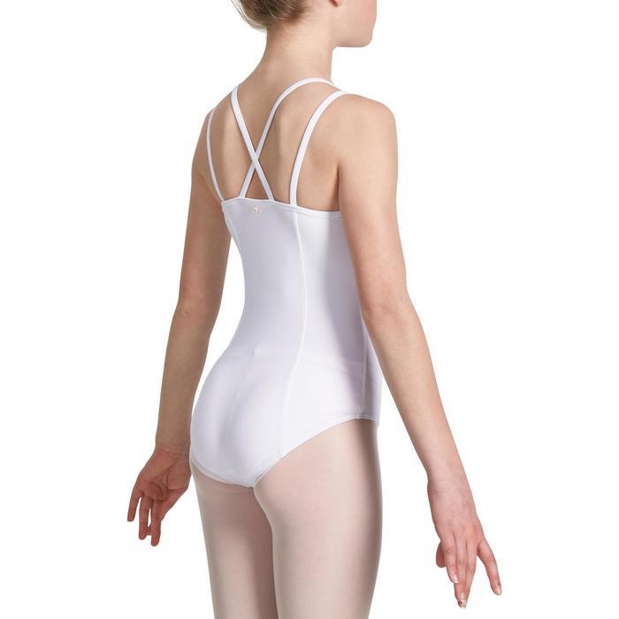 Justaucorps de danse classique fines bretelles fille SYLVIA blanc - 1032772