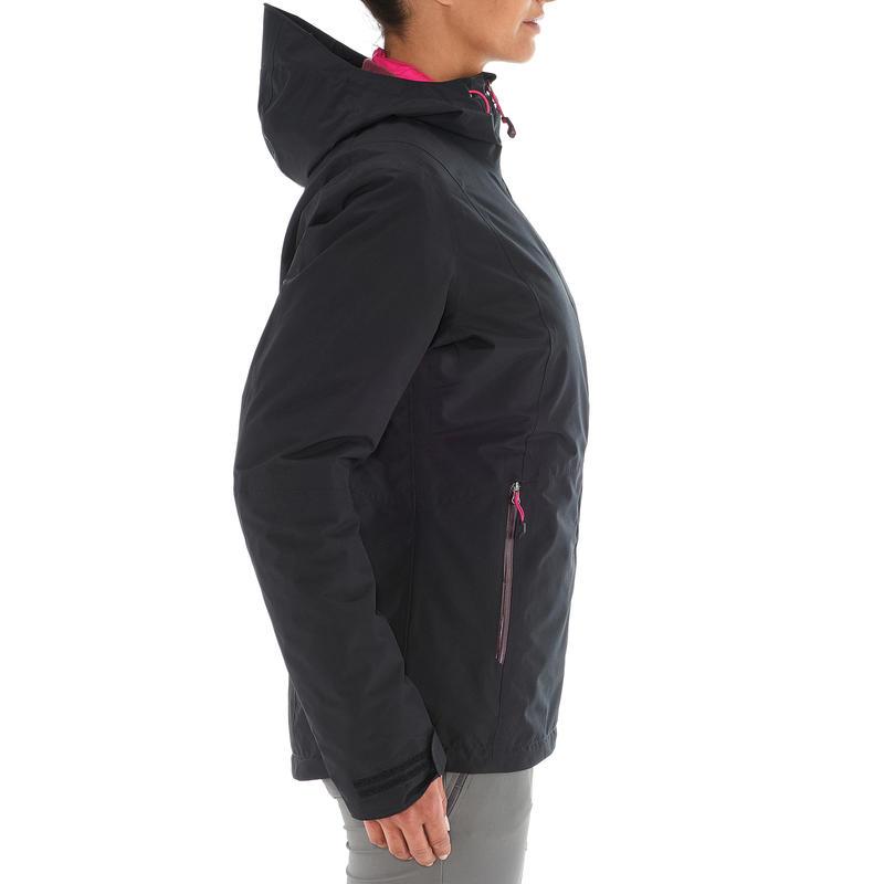 Jacket trekking Rainwarm 500 3 in 1 women's black
