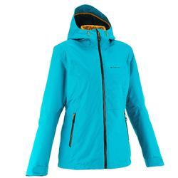 Rainwarm 500 女性防雨保暖3合1徒步旅行運動夾克 土耳其藍