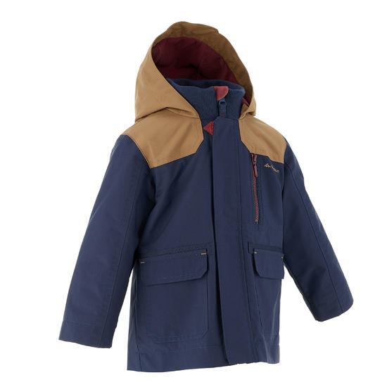 Waterdichte warme jas voor trekking jongens Hike 500 3-in-1 marineblauw - 1033445