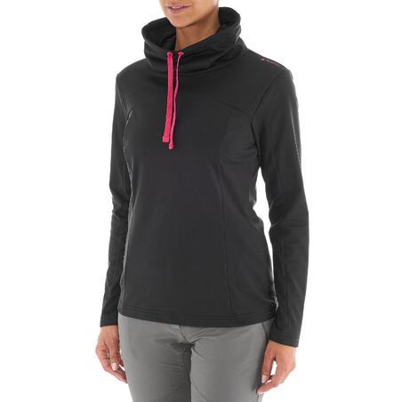T-shirt de randonnée neige manches longues femme SH100 chaud noir