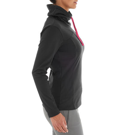 Women's Warm Long-Sleeved Snow Hiking Shirt SH100- Black