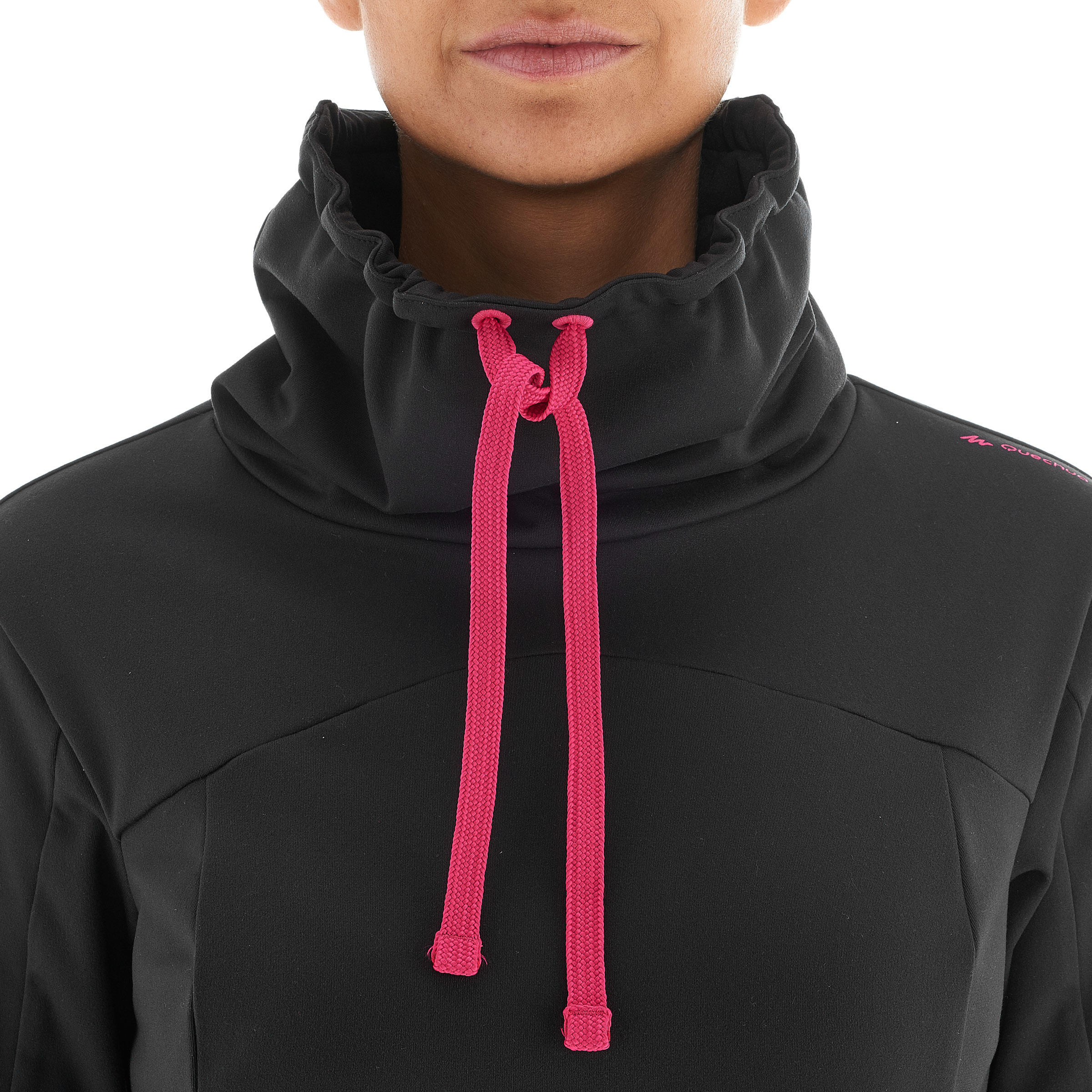 Tee-shirt de randonnée neige manches longues femme SH100 warm noir