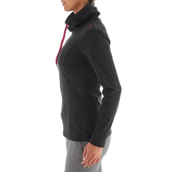 Dames T-shirt met lange mouwen voor wandelen in de sneeuw SH100 warm zwart