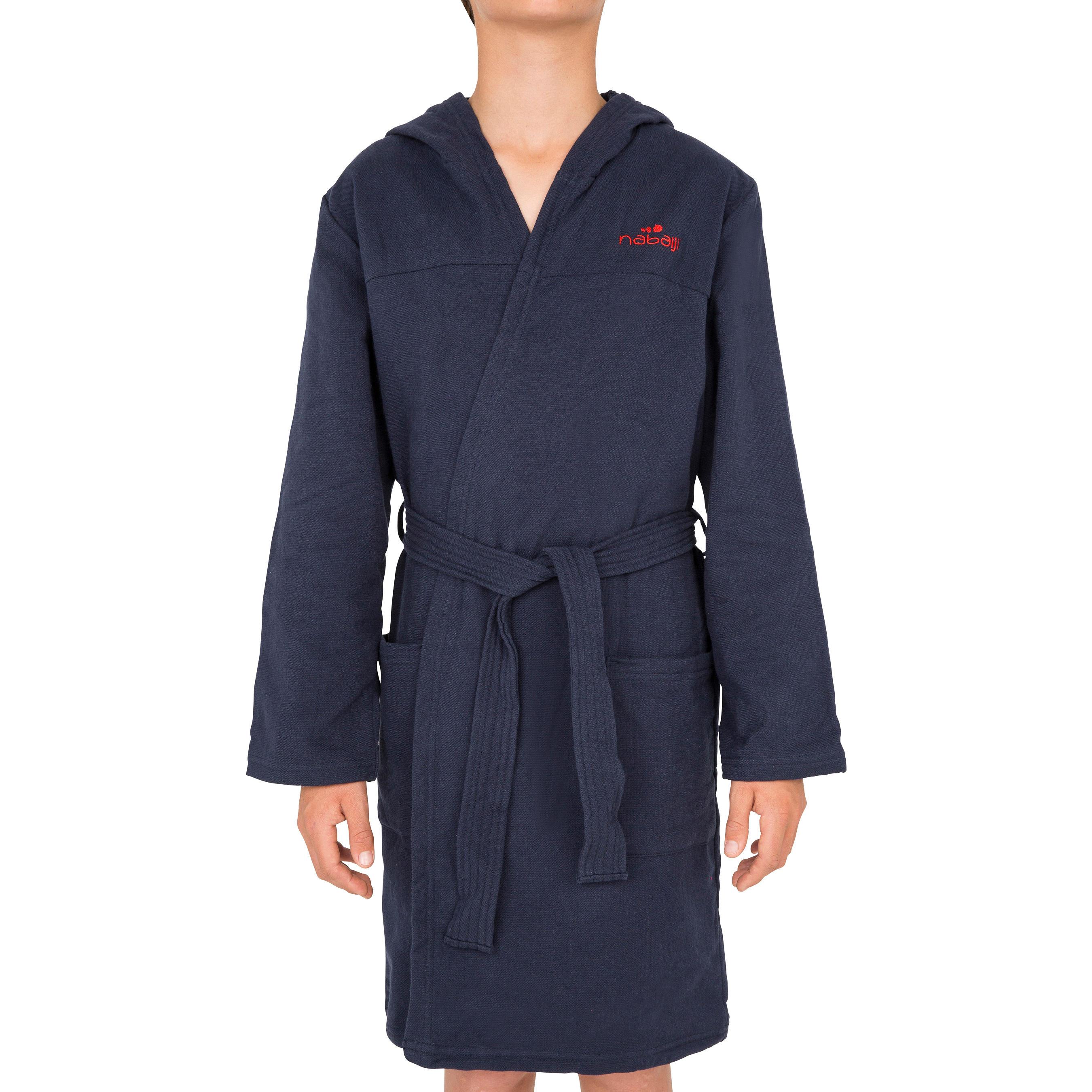 Kids' Lightweight Cotton Pool Bathrobe with Hood, Pocket & Belt - Navy Blue