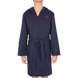 Albornoz algodón ligero natación niños azul marino con cinturón/bolsillo/capucha