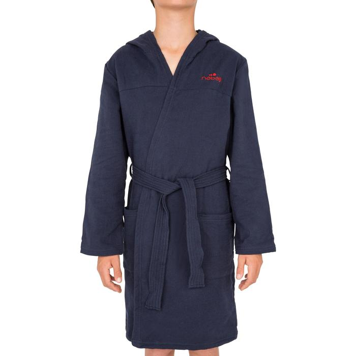 Peignoir coton léger natation junior rose avec ceinture, poches et capuche - 1034265
