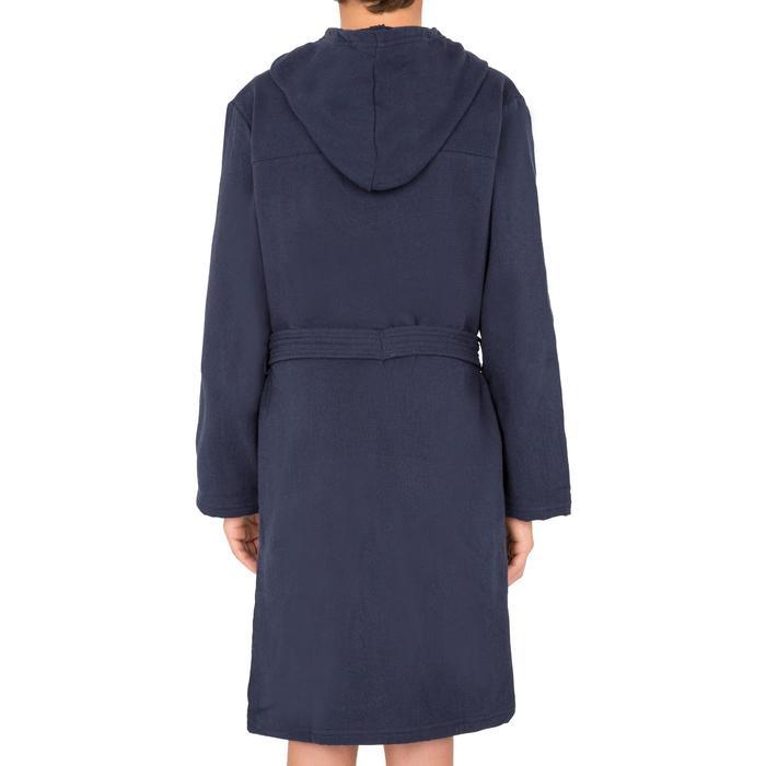 Lichte katoenen kinderbadjas met capuchon, zakken en bindceintuur marineblauw