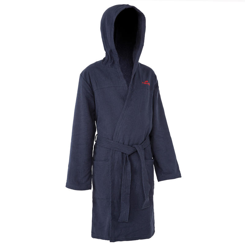 Kids' Lightweight Cotton Pool Bathrobe with Hood, Pocket & Belt - Navy Blue