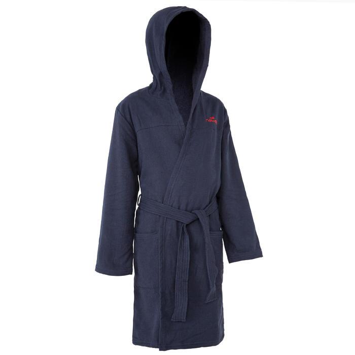 Peignoir coton léger natation junior rose avec ceinture, poches et capuche - 1034267