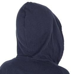 Bademantel Baumwolle leicht Gürtel Tasche Kapuze Kinder marineblau