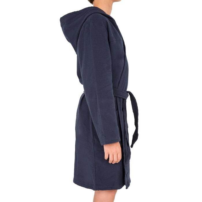 Bademantel leichte Baumwolle mit Gürtel, Tasche und Kapuze Kinder marineblau