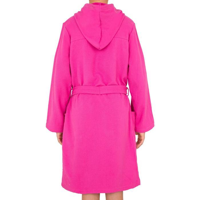 Bademantel leichte Baumwolle mit Gürtel, Taschen und Kapuze Kinder rosa