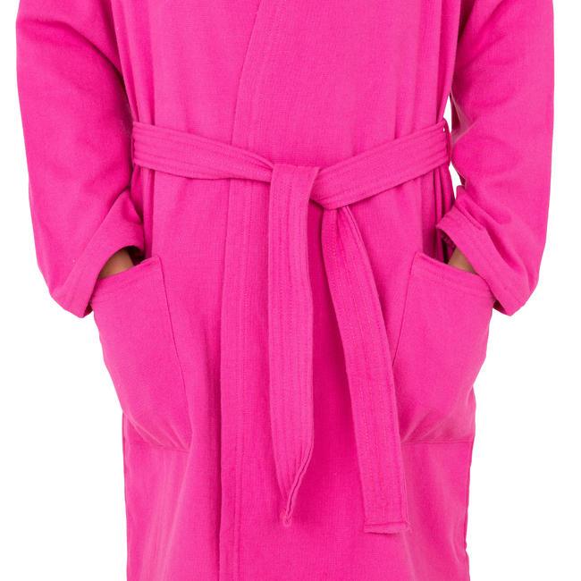 Kids' Lightweight Cotton Pool Bathrobe with Hood, Pockets and Belt - Pink