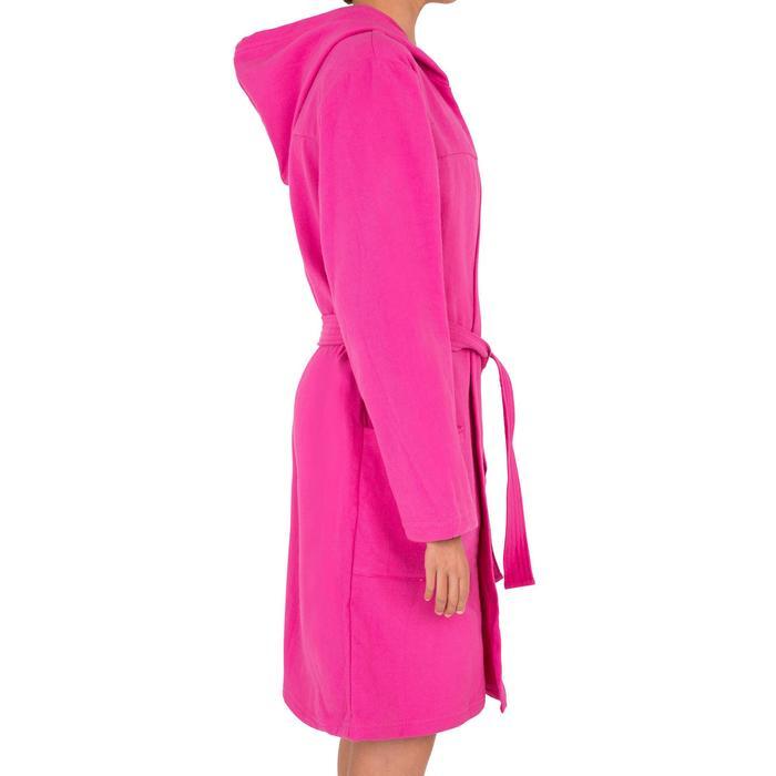 Peignoir coton léger natation junior rose avec ceinture, poches et capuche - 1034277