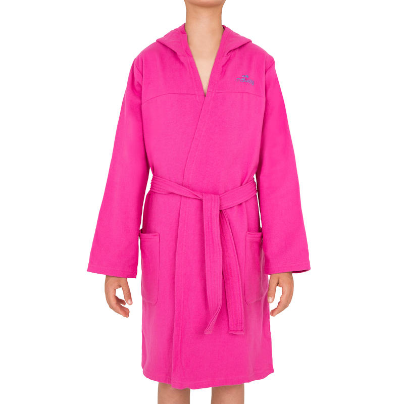 Kids' Lightweight Cotton Pool Bathrobe with Hood, Pockets and Belt - Pink