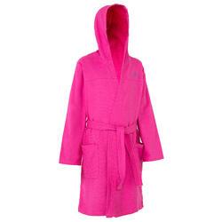 Lichte zwembadjas katoen kinderen roze met strikceintuur, zakken en kap