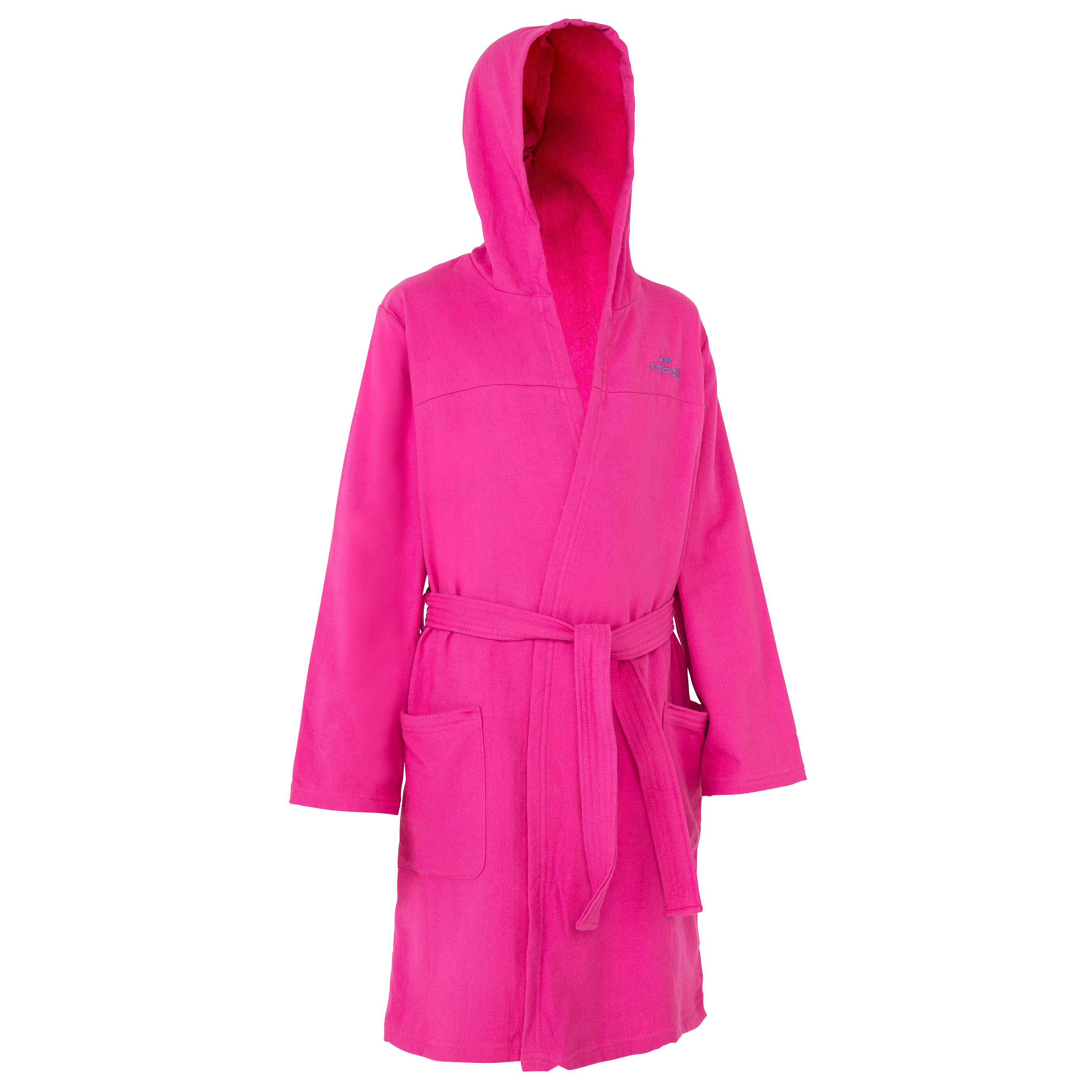 Kids' Lightweight Cotton Pool Bathrobe with Hood, Pockets and Belt – Pink