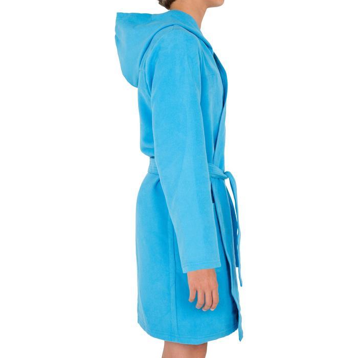 Peignoir microfibre natation enfant bleu avec capuche, poches et ceinture