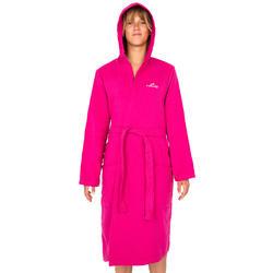 Lichte zwembadjas katoen dames roze met strikceintuur en kap - 1034285