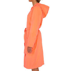Badjas microvezel dames violet met kap, zakken en strikceintuur - 1034286