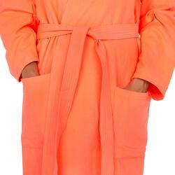 Badjas microvezel dames violet met kap, zakken en strikceintuur - 1034287