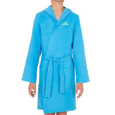 Bata de microfibra con capucha, bolsillos y cinturón para natación niños azul